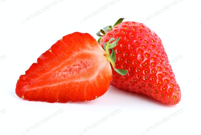 Ripe red strawberry. Whole and half