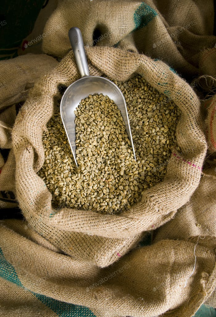 Raw Coffee Beans Burlap Bad Portion Control Scoop