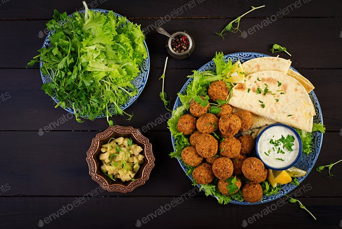 Falafel, hummus and pita. Middle eastern or arabic dishes