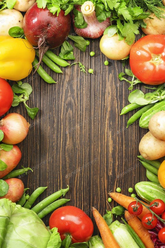 Gesundes Bio-Lebensmittel-Konzept. Raum kopieren
