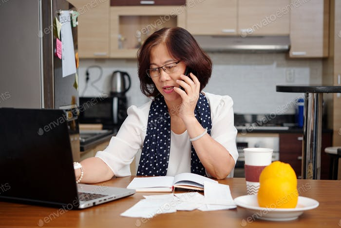 Woman arranging household finances