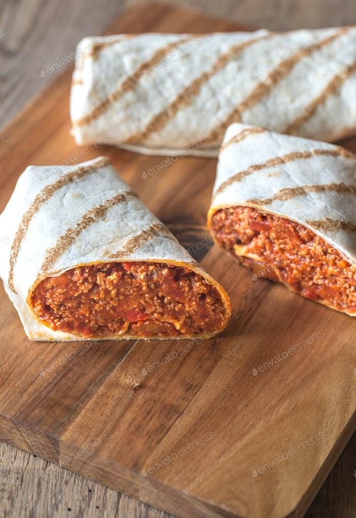 Burritos stuffed with ground beef