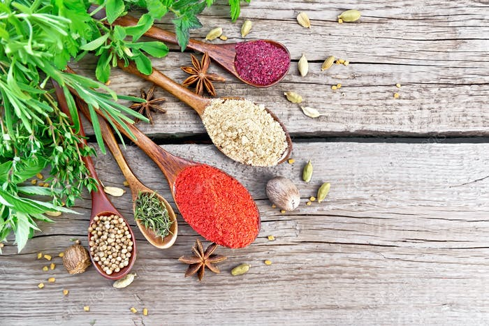Spices in spoons on board top