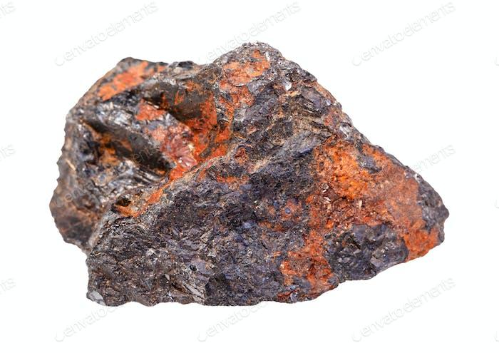 Wolframit (Wolframit) Gestein isoliert auf weiß