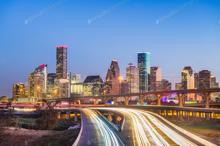 Houston, Texas, USA downtown city skyline and highway