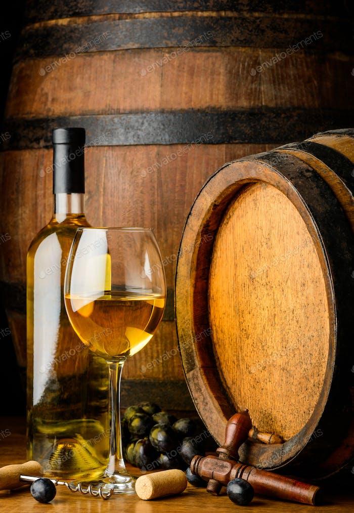 White Wine on Wooden Barrel Background