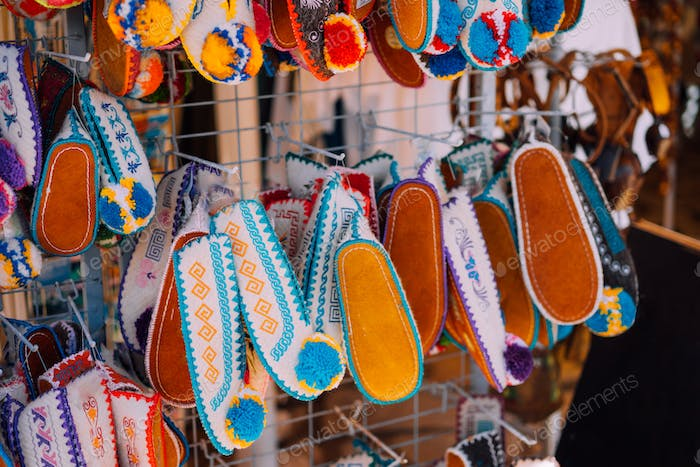 Souvenir shop. Traditional slipper Tsarouchi shoes. Greece