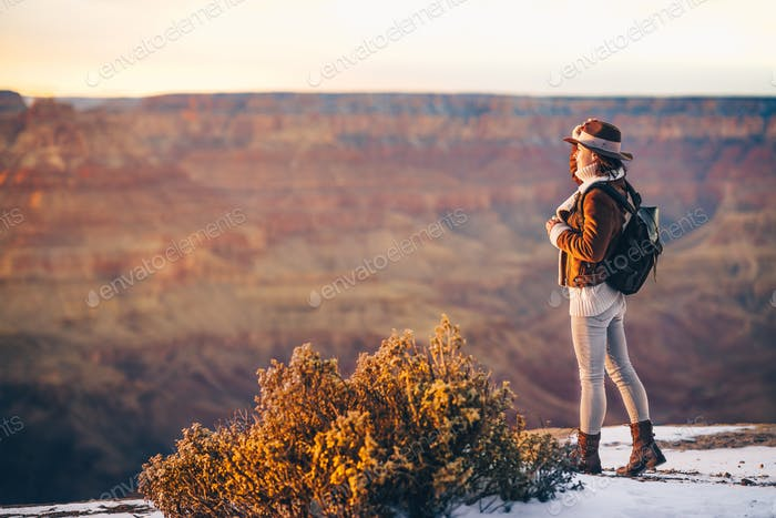 Happy tourist in the Grand Canyon National Park