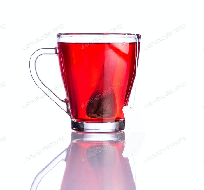 Red Tea and Bag Isolated on White Background