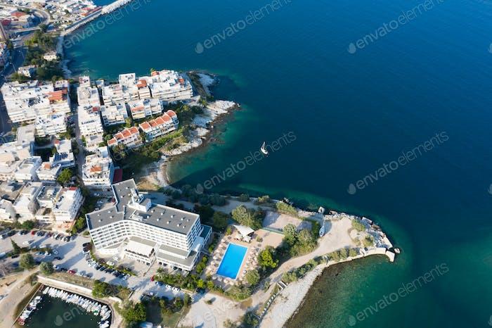 Panoramic aerial view of Kavala, Greece.
