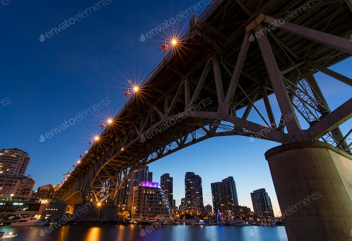 Granville Island Bridge on a Clear Night