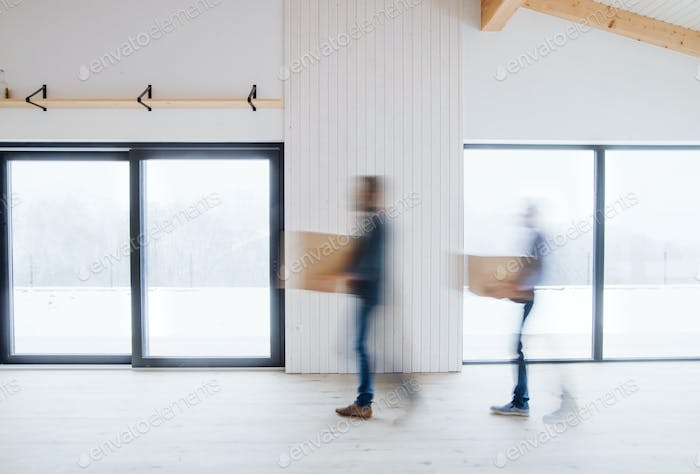 Two men walking with cardboard boxes when furnishing new house. Motion blur.