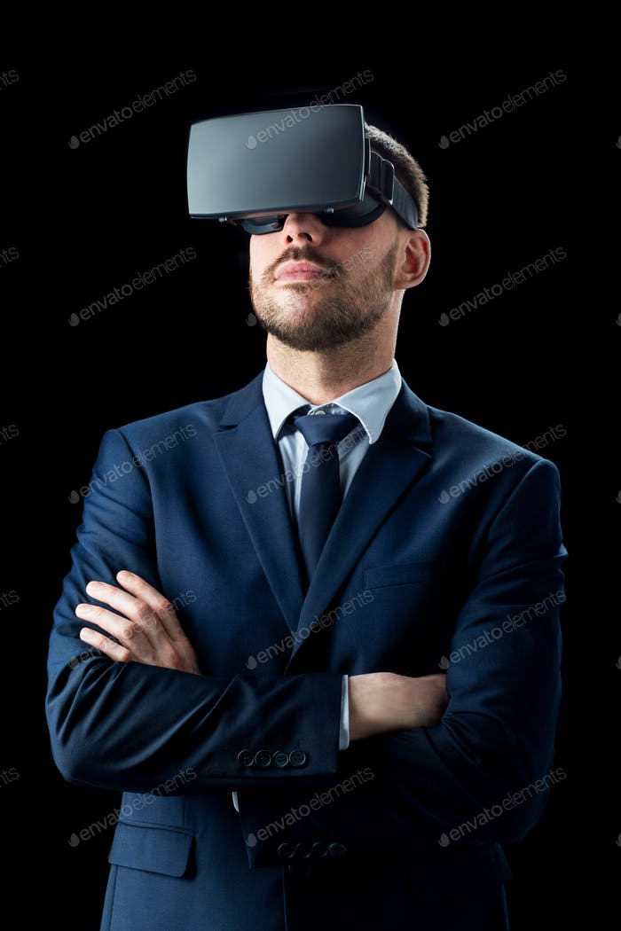 businessman in virtual reality headset over black
