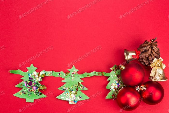 Christmas background with cute fir tree artwork and ornaments.