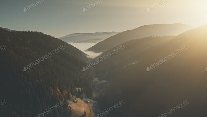Panoramic hill chain sunrise sight aerial view