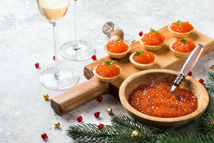 Christmas and New Year holidays composition. Red Salmon Caviar