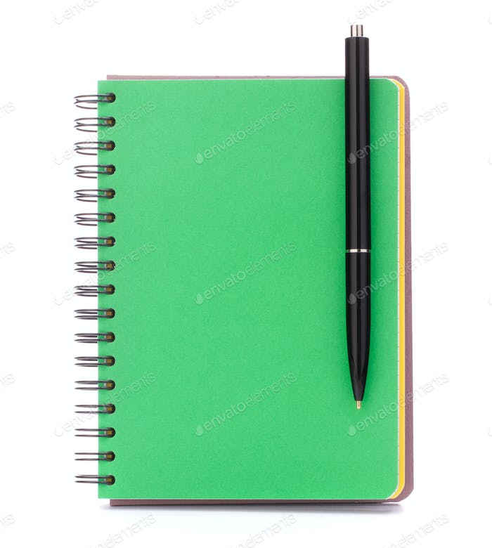 Green cover notebook with black pen