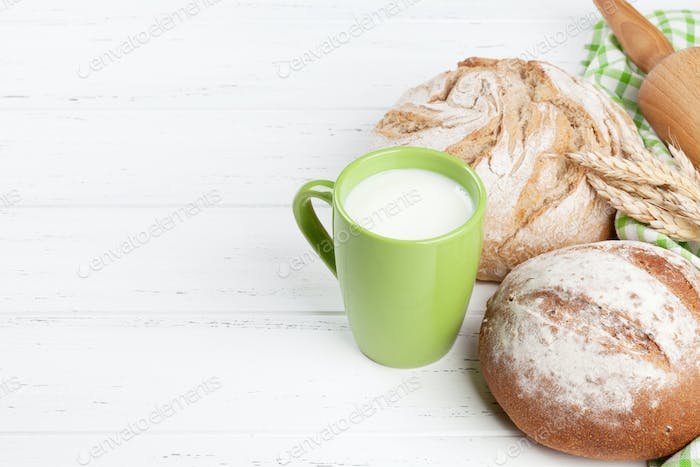 Homemade crusty bread and milk