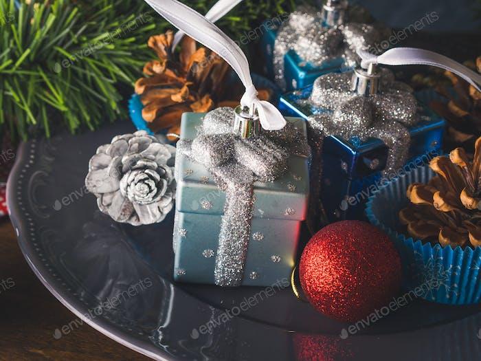 Christmas decorations still life