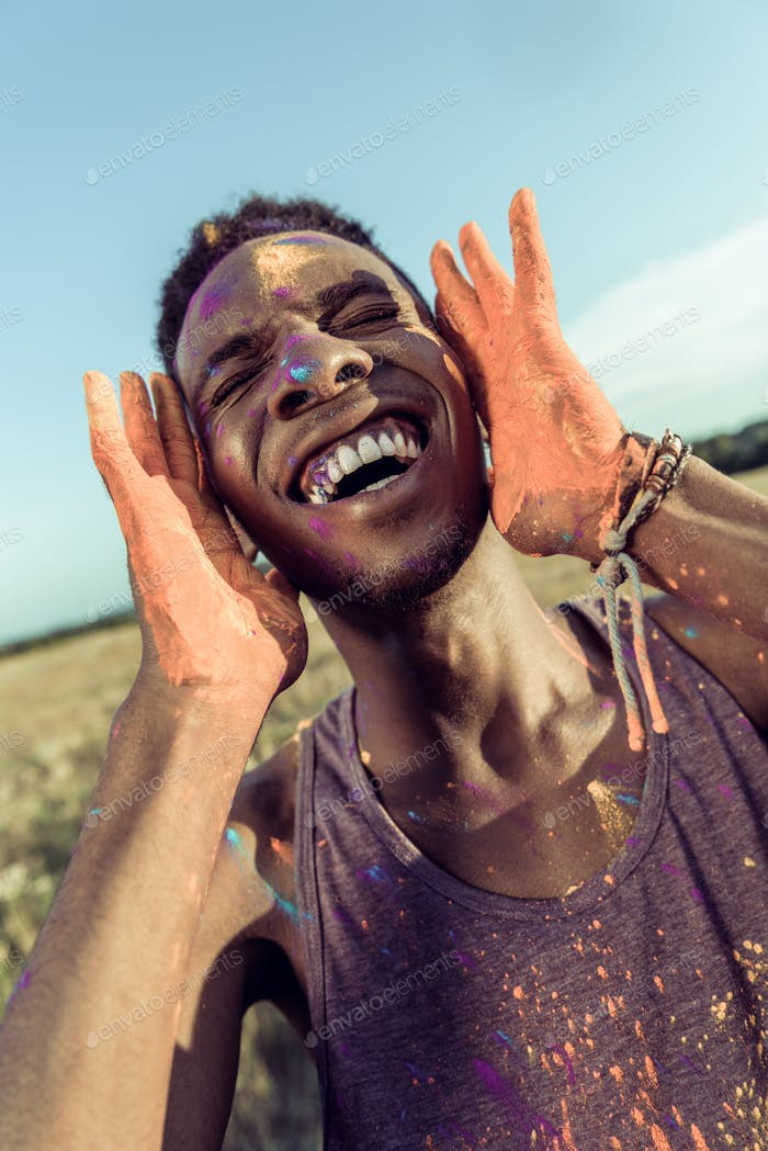 African American Man With Paint on Face