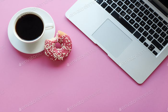 Relaxation with coffee and donut
