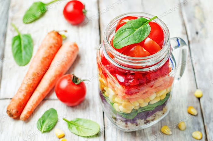 homemade rainbow salad with vegetables and quinoa