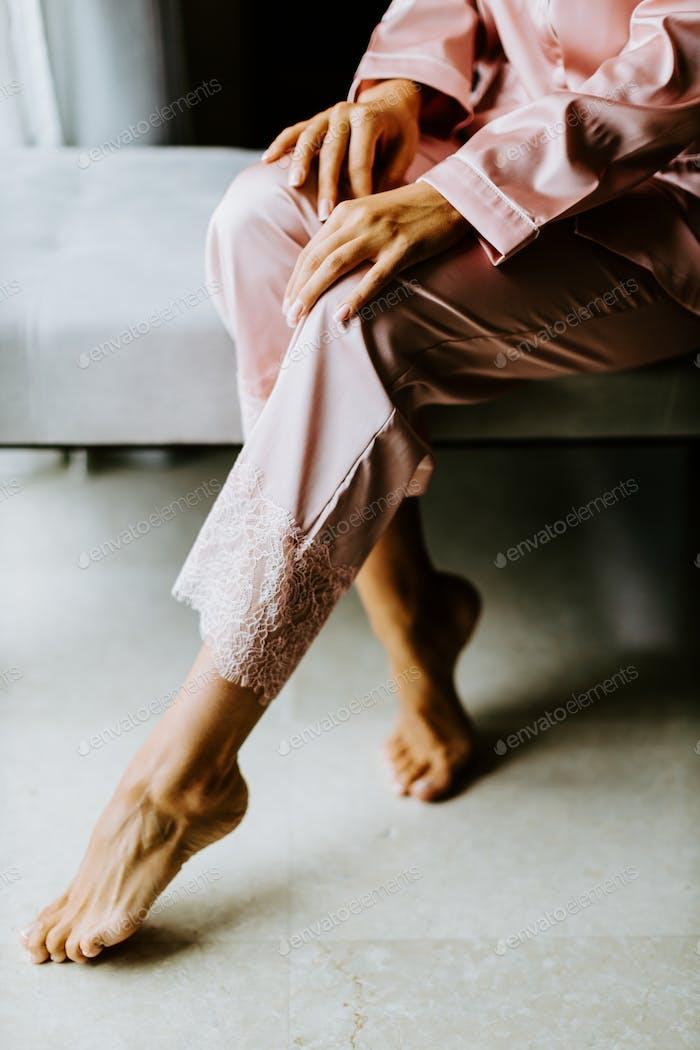 woman wearing nightwear pijama at home