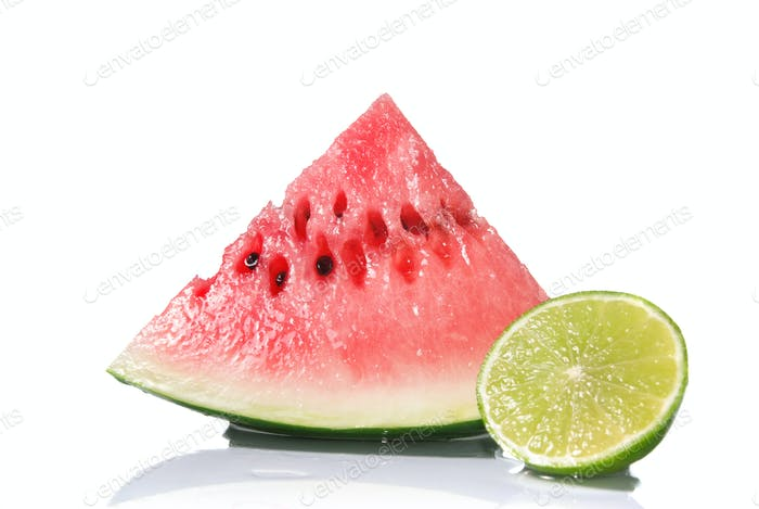 watermelon and lime isolated on white