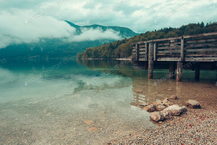 Wooden pier on Bohinj lake
