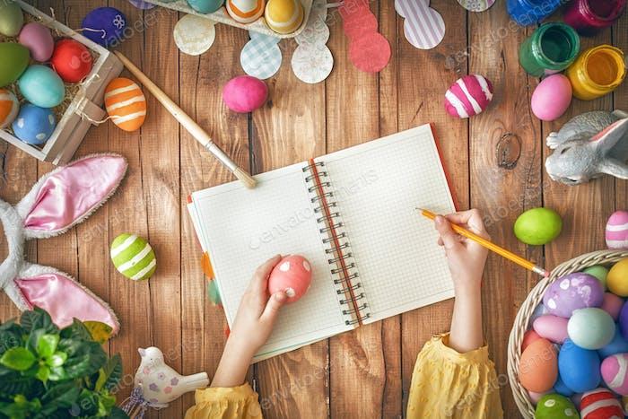 kid preparing for Easter