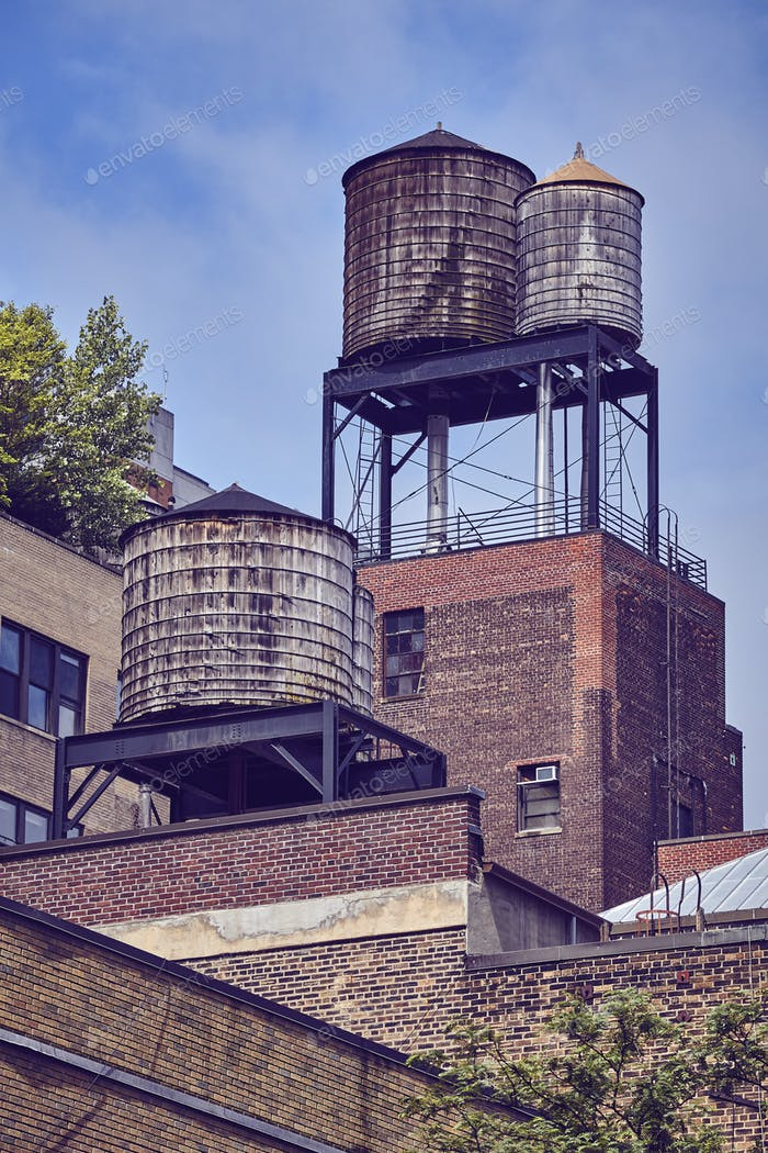 Water tanks, one of the New York City symbols.