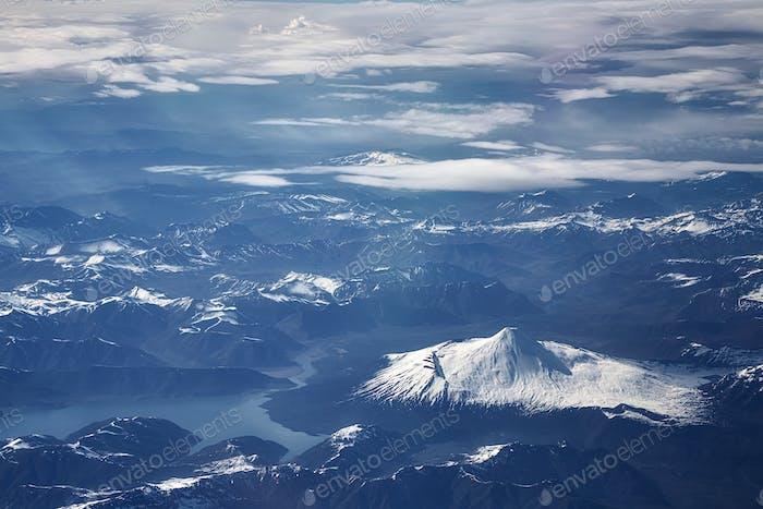 Luftbild der Anden, Chile