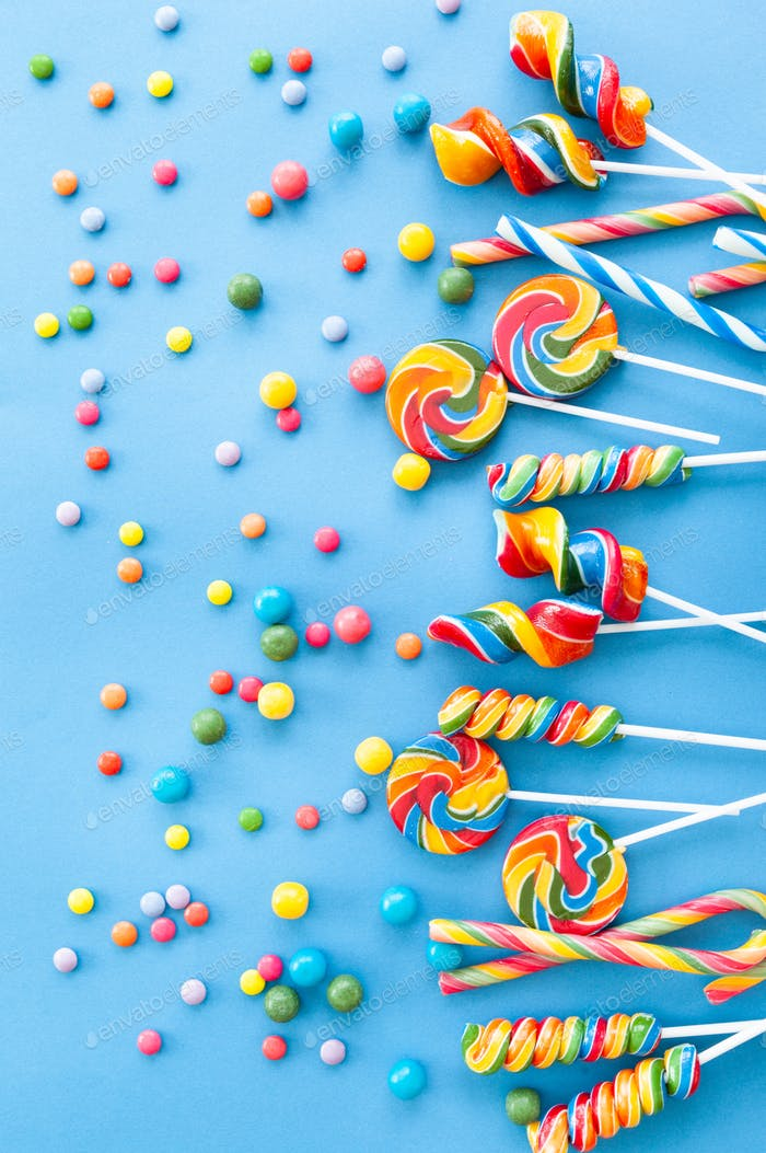 Colorful sweets and lollipops
