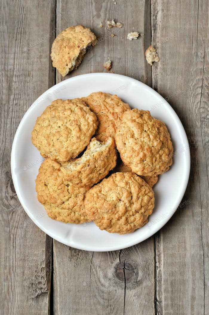 Oatmeal cookies on rustic table