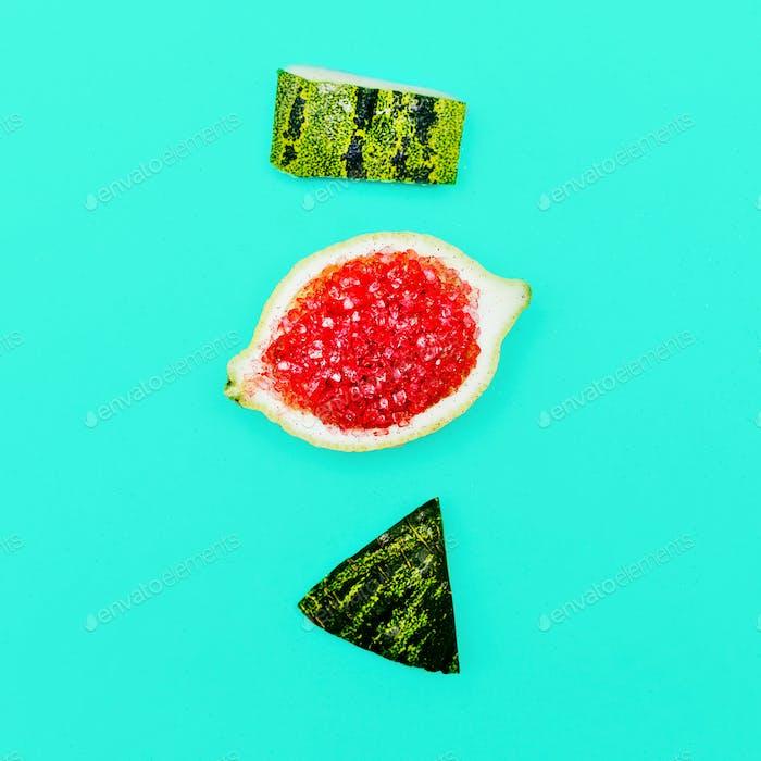 Positive fresh mood. Stillife Minimal Citrus Watermelon art