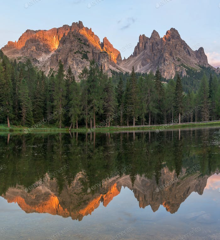 Beautiful mountain scenery in Dolomites by Tre Cime di Lavaredo lake