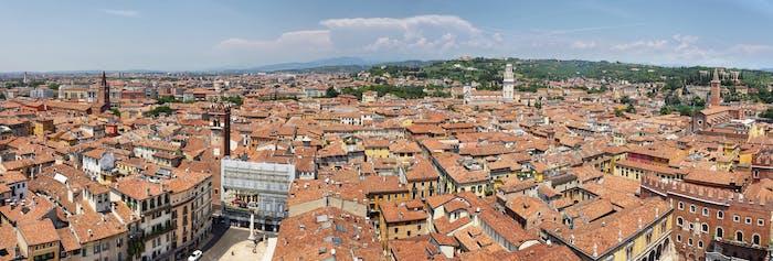 Cityscape of Verona city from Lamberti Tower, Italy.