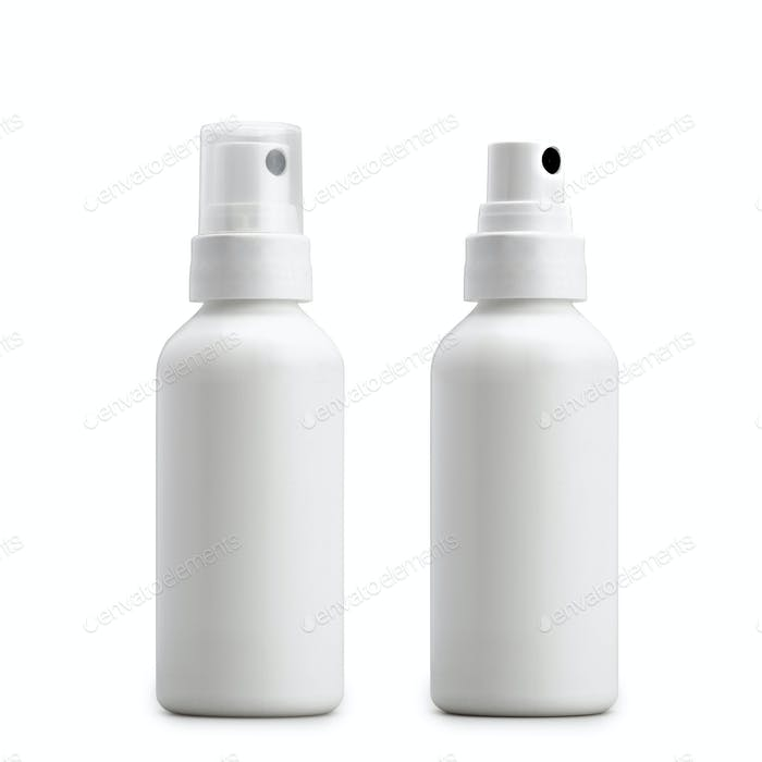 Two little Blank anteseptic sprayer isolated on white.