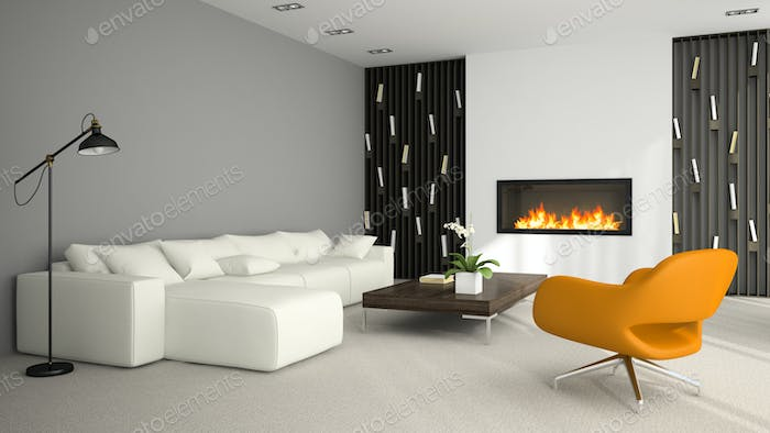 Interior of modern room with fireplace 3D rendering 6