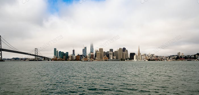 Long Panoramic View San Francisco Bay Bridge City Skyline