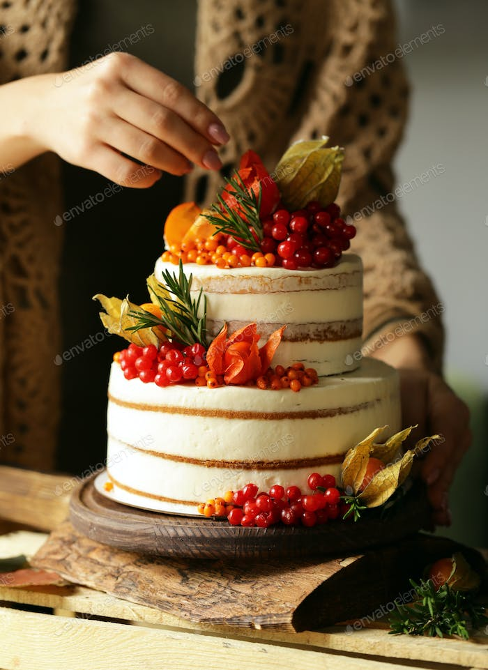 Festive Cake with Autumn Decor