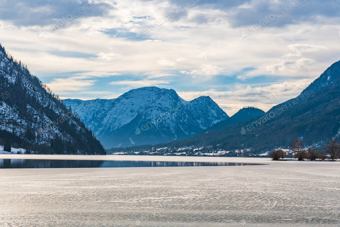 Clear Cold Landscape with blue sky at Grundlsee, Austria, winter, frozen lake