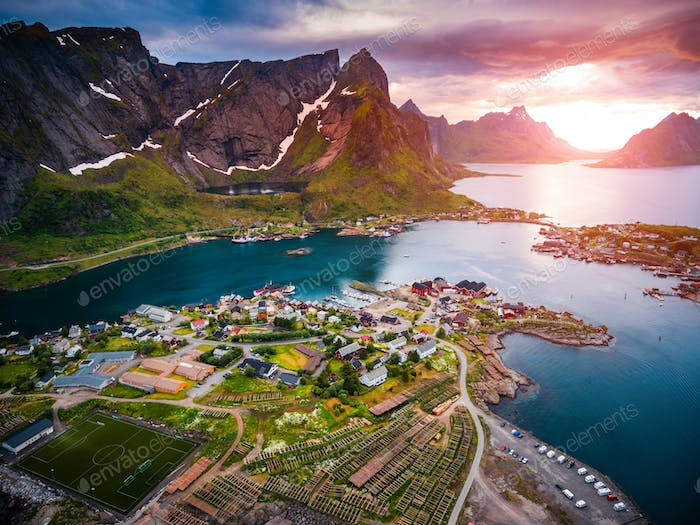 Lofoten archipelago islands aerial photography.