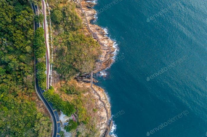 Aerial of coast and sea landscape