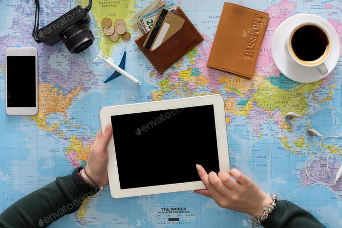 Concepto de planificación de viajes y tecnologías