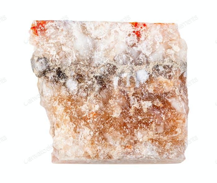 Steinsalz (Halit) isoliert auf Weiß
