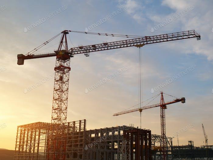 Crane silhouette building