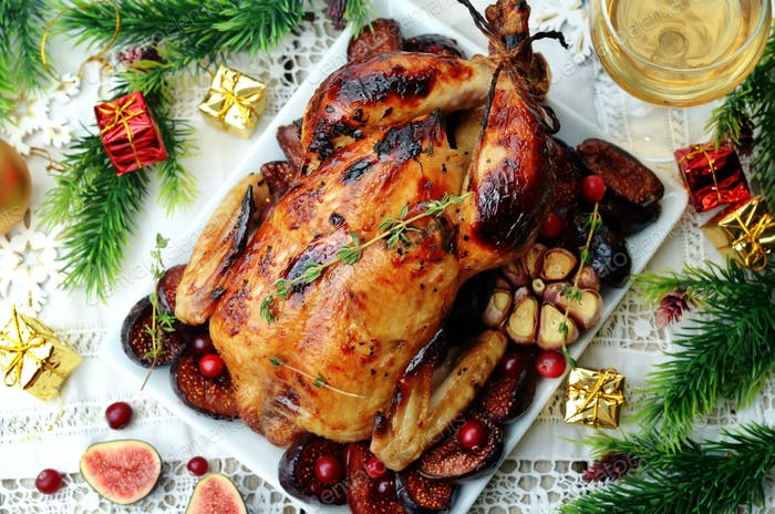 Roasted chicken with figs, cranberries and garlic for Christmas.