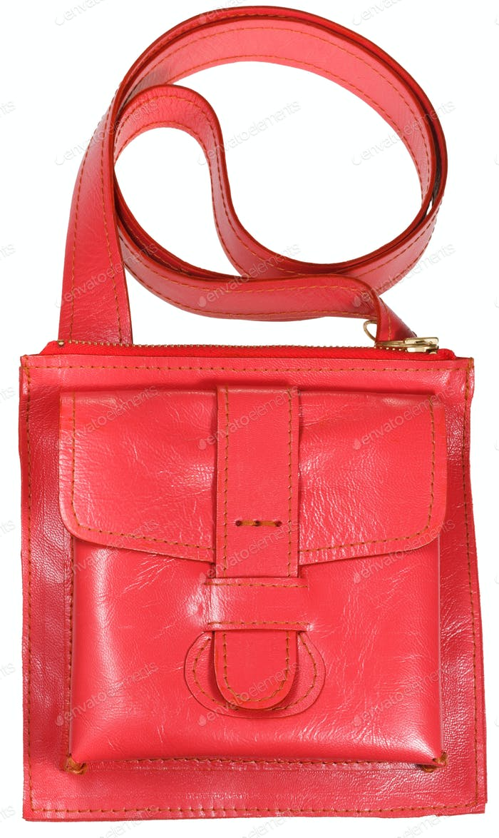 female small red leather handbag