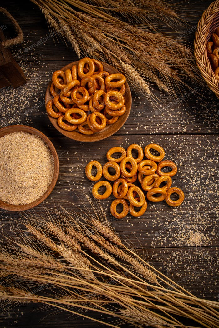 Flat lay of pretzel rings